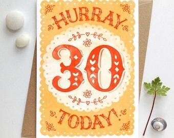 30th Birthday Card | Thirtieth Birthday Card | 30th Birthday | Thirtieth Birthday | Age 30 card | Big Birthday Card | Cards for 30 year olds