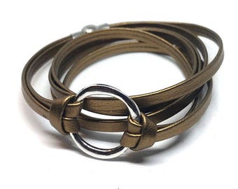 Infinity Leather Circle Wrap Bracelet, Flat Folded Leather Jewelry, Cuff Bracelets, Gift for Her, Leather, Triple Wrap, Bangles, Cuff
