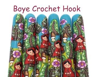 Crochet Hook, Polymer Clay Covered Boye Crochet Hook, Crochet Hook sizes B-N, Little Red Riding Hood, Rotkäppchen , Fairy Tale