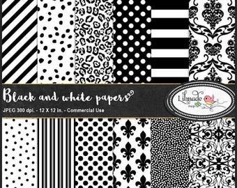65%OFF SALE Black and white digital paper,  black and white stripe digital paper, black and white spot, planner sticker paper, damask paper,