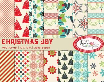 50%OFF Christmas digital paper, Christmas scrapbook paper, Christmas patterns, Christmas backgrounds for commercial use, P95