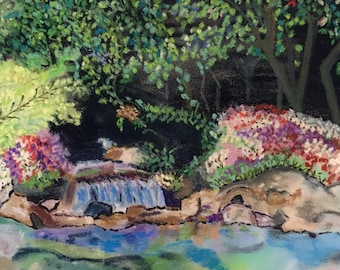 Giclee Print From Original Pastel-Dark Waterfall-Neo Impressionism-Abstract Landscape
