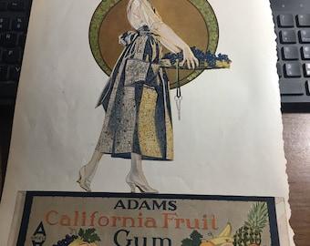 Adams California Fruit gum ad circa 1921  original large graphics. 10 x13.
