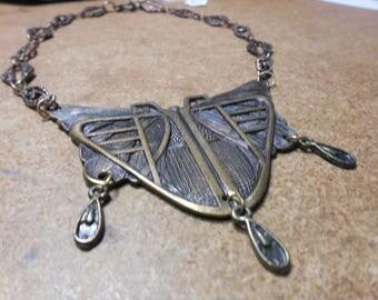 Art Deco Butterfly Brass Necklace