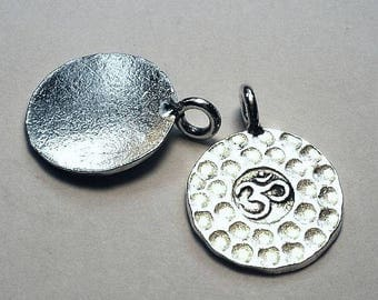 Yoga Charm Hammered OM Charm 15.6mm Hill Tribe Fine Silver HT-266