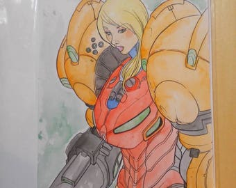 Metroid samus watercolour painting by boo rudetoons games comics scifi