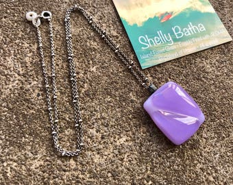 Jacaranda Oxidized Sterling Silver Necklace Shelly Batha Island Fused Glass Hawaii