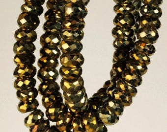 ON SALE Golden Pyrite Rondelles Faceted Rondels Mystic Golden Pyrite Earth Mined Pyrite - 6.5 to 7 mm - 4 Inch Strand