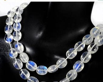 ON SALE ON Sale Rainbow Moonstone Oval Beads Smooth Center Drilled Blue Flash Earth Mined Gemstone - 4 or 8-Inch Strand - About 9x7 to 10x8m