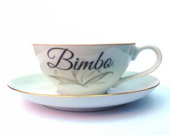 SALE - Bimbo Altered Vintage Teacup and Saucer
