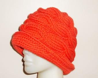 Hand Knit Hat / Orange Hat / Winter Hat / Womens Gift for Her - orange gifts