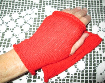 Red Fingerless Gloves Knitted by SuzannesStitches, Steampunk Gloves, Driving Gloves, Wrist Warmers, Red Fingerless Gloves, Hand Knit Gloves