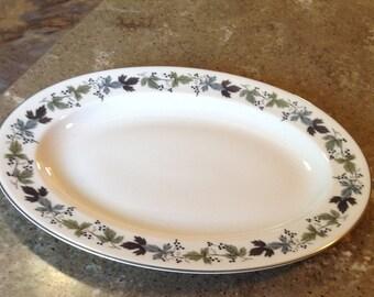 Vintage Royal Doulton England Burgundy Platter Oval Serving Plate