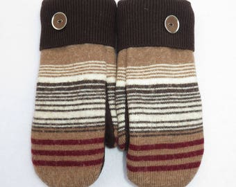 Wool Mittens // Recycled and Felted Sweaters // Fleece Lined // Tan with Dark Brown, White and Red Stripes