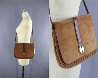 Vintage 1980s HALSTON Suede Purse / 80s Leather Handbag / Convertible Clutch / Shoulder Bag / Cross Body Bag