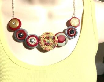 Spaghetti Swirl Button Necklace