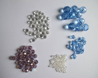 Lot of 136 Crystal Glass Faceted Beads assorted sizes, colours and shapes