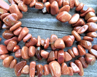 Brown Goldstone Chip Beads 16 Inch Strand 5-12 mm