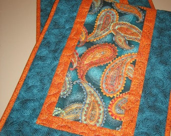 """Quilted Table Runner Large Paisley Print in Turquoise, Orange, Gold, Reversible Runner 13.5 x 48"""" Handmade Free Shipping"""