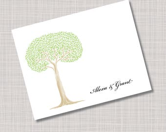 Custom Green Tree Wedding Thank You Note Cards