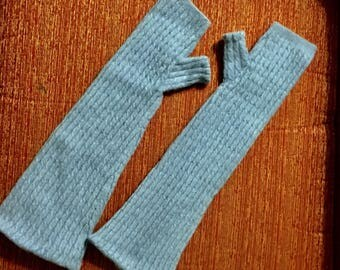 D90 Cable knit blue Cashmere armwarmer long fingerless gloves with thumbs  soft Cashmere Fingerless gloves MittenWrist Warmers Cashmere
