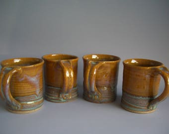 Hand thrown stoneware pottery mugs set of 4  (M-10)