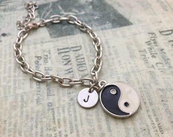 Yin and Yang Bracelet, Yoga Bracelet, Initial Bracelet, Gift Ideas, Hand stamped Bracelet, Friendship Bracelet, Handmade, Couple Bracelet