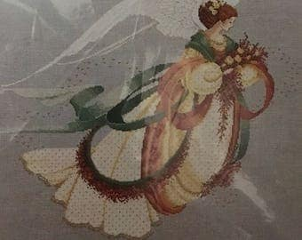 Lavender and Lace charted cross stitch Angel of Autumn