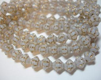 25 6mm Czech Glass White Opal with Gold Saturn Saucer Beads