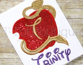 Descendant Apple Embroidered Shirt or Bodysuit Birthday Girl Sequin Number or Initial - Free Personalization
