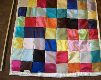 Multi colored satin baby quilt 3 feet square, custom made NEW