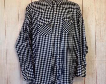 Vintage 90s Dee Cee Brand Pearl Snap Button Country Western Shirt Mens 17 - 35 XL