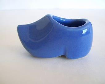VINTAGE Tiny Little Blue Pottery Dutch Shoe, Planter