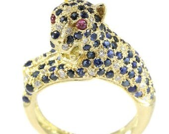 ON SALE Vintage panther ring with diamonds and sapphires statement ring 18k yellow gold brilliant cut diamonds sapphires and two cabochon ru