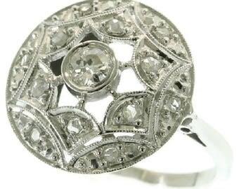 Sparkling vintage Art Deco diamond engagement ring old European cut diamond 18k white gold ring 1920s