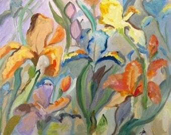 Abstract Iris 16x20 oil painting original floral garden art Art by Delilah