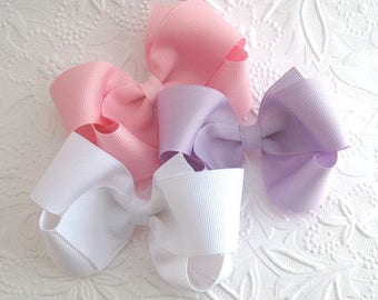 "Set of 10 ~ 4"" Girls Large Boutique Hair Bows Choose Your Colors"