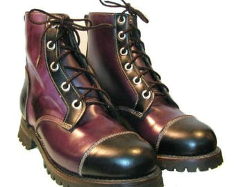 Vintage Mens Logger Boots Dark Purple and Black Leather Work Boots Mns US Size 10