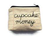 Cupcake Money Bag - Zip Bag Money Case - Change Purse - Cupcake Lovers Gift- Handmade - Notebook Paper Fabric - Coin Purse Wallet Bag
