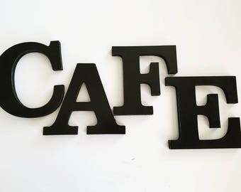 CAFE Sign, Kitchen Decor, Farmhouse, Coffee Shop, Fun Gift Idea, Wooden Letters in Black, Other Colors Available,  6 inch