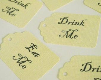 Alice in Wonderland 60 'Eat me' and 60 'Drink me' Tags- 120 count total