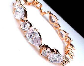 bridal jewelry bracelet prom wedding bridesmaid gift pageant bold statement Clear white AAA cubic zirconia round and teardrop rose gold