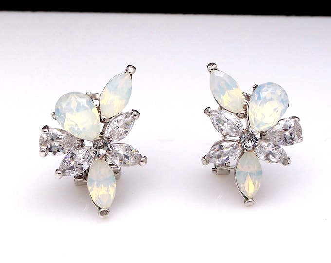 wedding bridal earrings jewelry gift prom party christmas pageant marquise teardropl white opal cubic zirconia cluster rhodium post stud