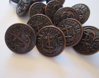 14 vintage COAST GUARD buttons - anchor buttons - WWII era - military uniform buttons
