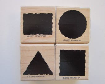4 rubber stamps - solid shapes, Stampin Up 2000