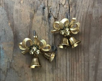 Gold Bell Earrings With Bows Holiday Jewelry Gifts For Her Gifts Under 20 Festive Golden New Years Party