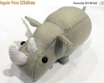 ON SALE Little Rhino/Rhinoceros stuffed animal or plushie in grey/gray