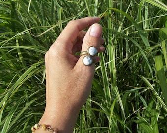 Balance -  White Howlite gemstone  Adjustable Ring, Boho Chic, Gemstone Ring, Double Stone