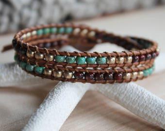 Wrap Bracelet, Seed Beads, Double Wrap Bracelet, Beaded Wrap Bracelet, Double Wrap, Leather Wrap Bracelet, Beaded Leather Wrap, Bohemian