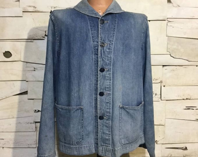 Vintage US Navy Shawl Collar Denim Deck Smock Chore Jacket 40's (ps-m-10)